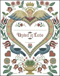 Cross stitch pattern FREE download instantly in a PDF file, to embroider a memory of wedding