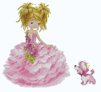 Cross stitch pattern with FREE download instantly in PDF file, to embroider a princess pink girl
