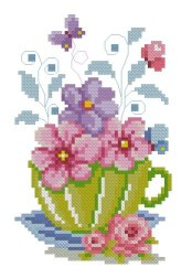 Cross stitch pattern with FREE download instantly in PDF file, to embroider flowers in a cup