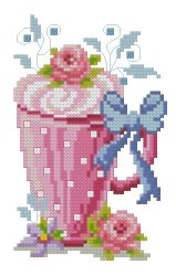 Cross stitch pattern with FREE download instantly in PDF file, to embroider a ice cream cup