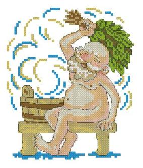 Cross stitch pattern with FREE download instantly in PDF file, to embroider a man in the Spa