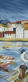 Cross stitch pattern with FREE download instantly in PDF file, to embroider a bird in the bay