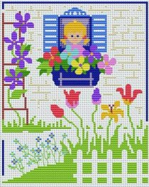 Cross stitch pattern to FREE download instantly in PDF file, with flowers at home