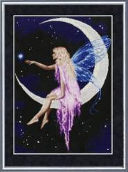 Cross stitch pattern to FREE download instantly in PDF file, with fairy on the moon