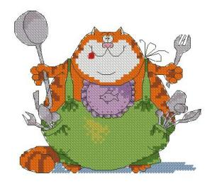 Cross stitch pattern to FREE download instantly in PDF file, with a fat cat