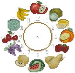 Cross stitch pattern to FREE download instantly in PDF file, with clock of fruits