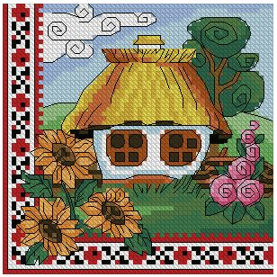 Cross stitch pattern to FREE download instantly in PDF file, with a cottage