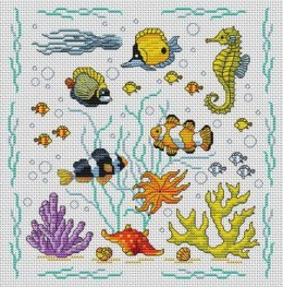 Cross stitch pattern to FREE download instantly in PDF file, with fishes under sea