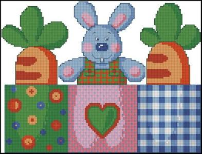 Cross stitch pattern to FREE download instantly in PDF file, with little rabbit
