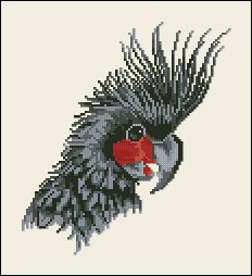 Cross stitch pattern to FREE download instantly in PDF file, with a parrot