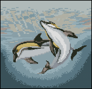 Cross stitch pattern to FREE download instantly in PDF file, and embroider two dolphins