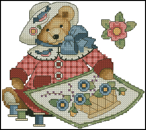 Cross stitch pattern to FREE download instantly in PDF file with a teddy bear embroidering