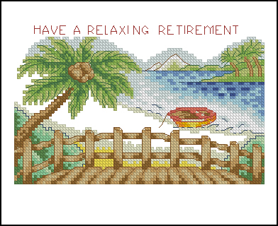 Cross stitch pattern to FREE download instantly in PDF file with a beach landscape