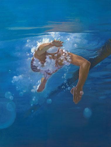Nuotatrice - Kim Hyang. Lartista coreana disegna unatleta alle prese con lo stile libero