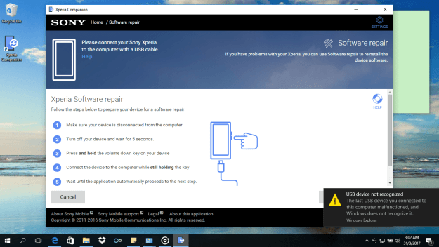 Sony Xperia Companion USB Not Recognized