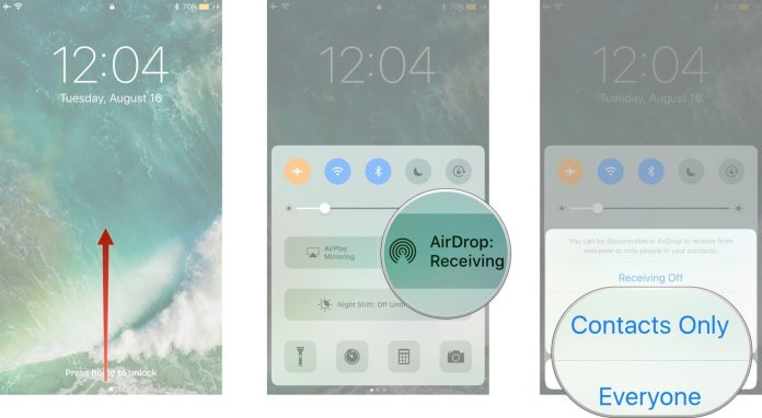 turn on airdrop iphone