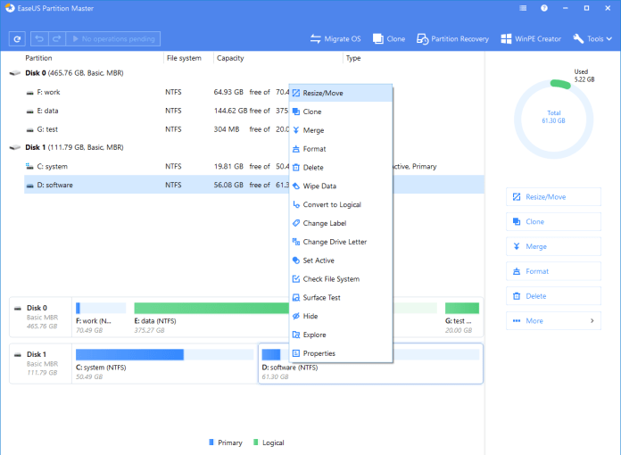 EaseUS Partition Master software shows Choose a Partition