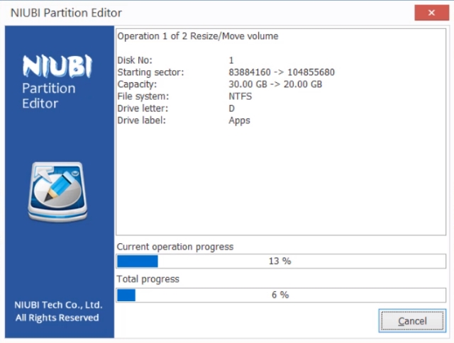 NIUBI Partition Editor software rollback technology feature