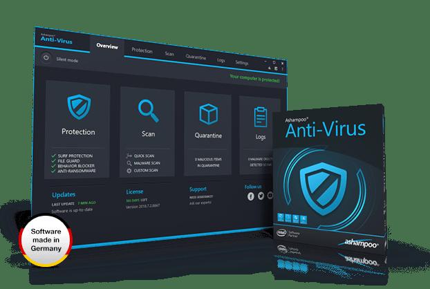 Ashampoo Antivirus software showing display screen