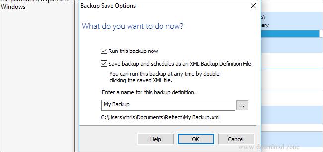 backup save option of Macrium Reflect