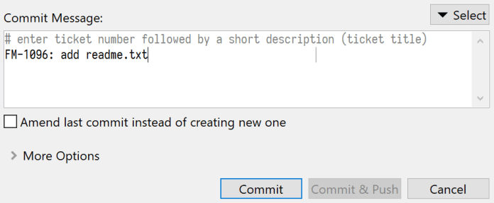 SmartGit software shows commit message
