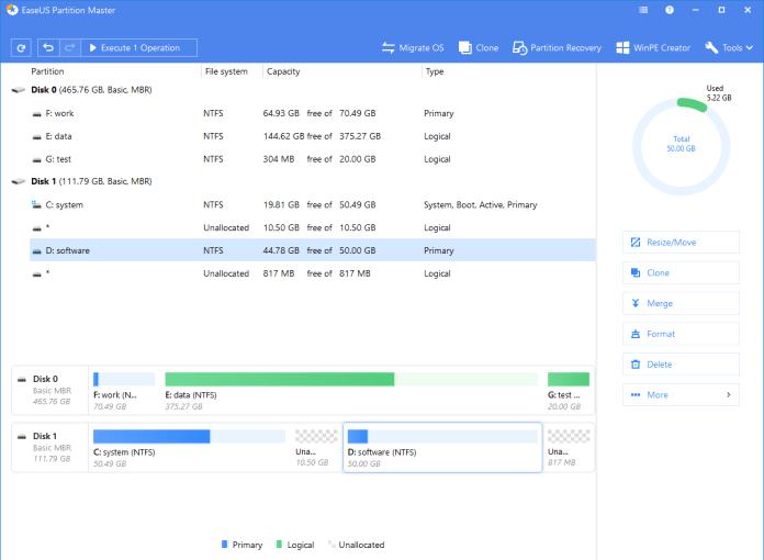 EaseUS Partition Master shows confirmation dialogue box