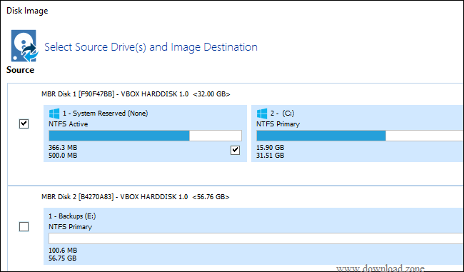 select source and image destination
