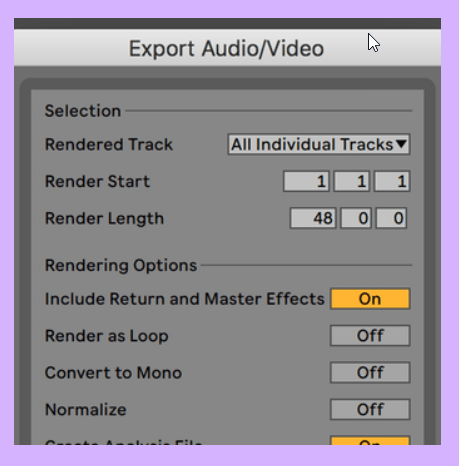 Ableton Live Software showing Export return and master effects