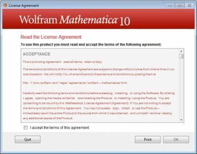 mathematica-Licence agreement