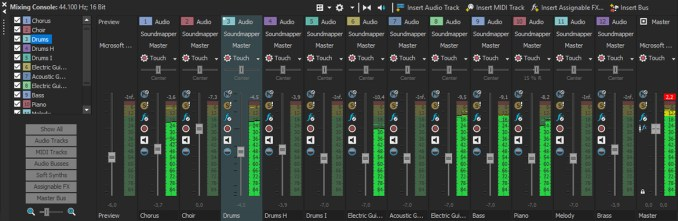 ACID Pro software showing mixing console