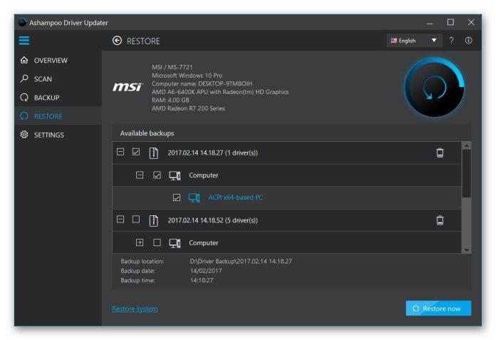 Ashampoo Driver Updater software showing restores the data
