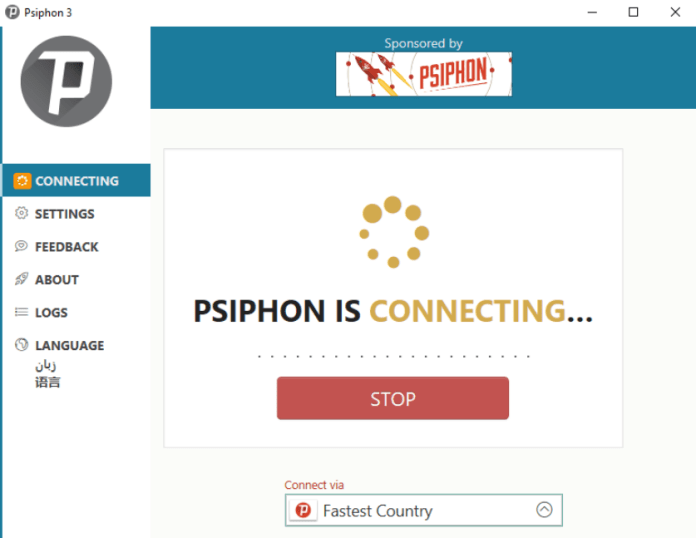 Psiphon 3 Download For PC Connecting Application
