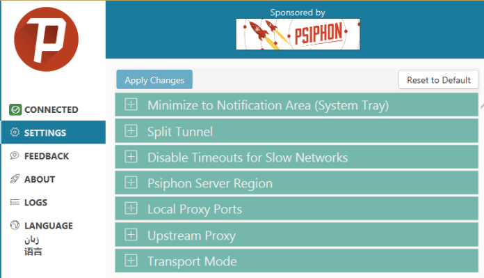 Psiphon-3-Download-For-PC--Settings