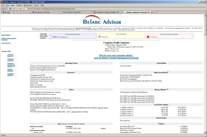 belarc advisor download for windows 10 to benchmark pc software, hardware and complete pc profile