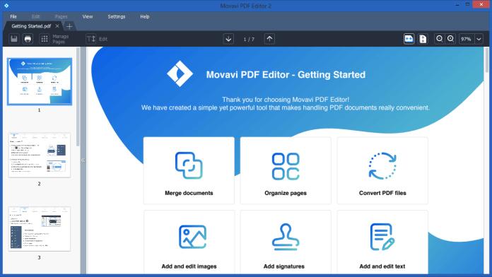 Movavi PDF Editor Dashboard