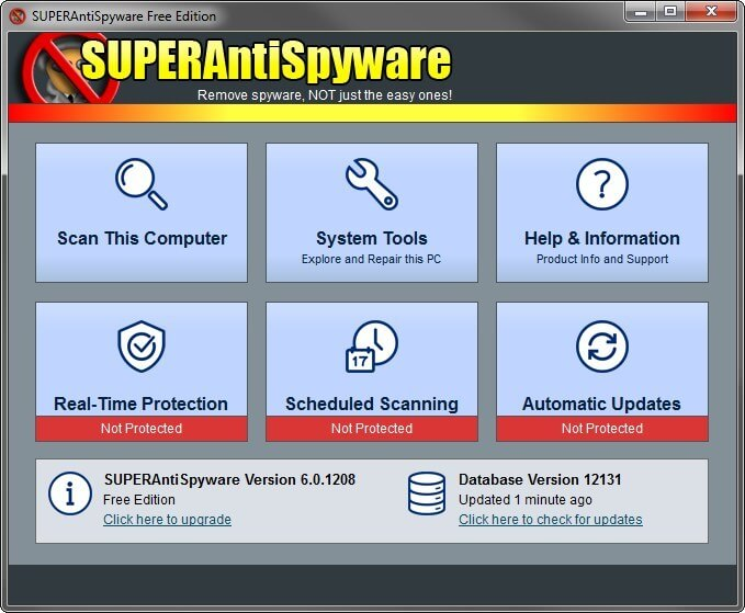 SuperAntiSpyware Main Windows