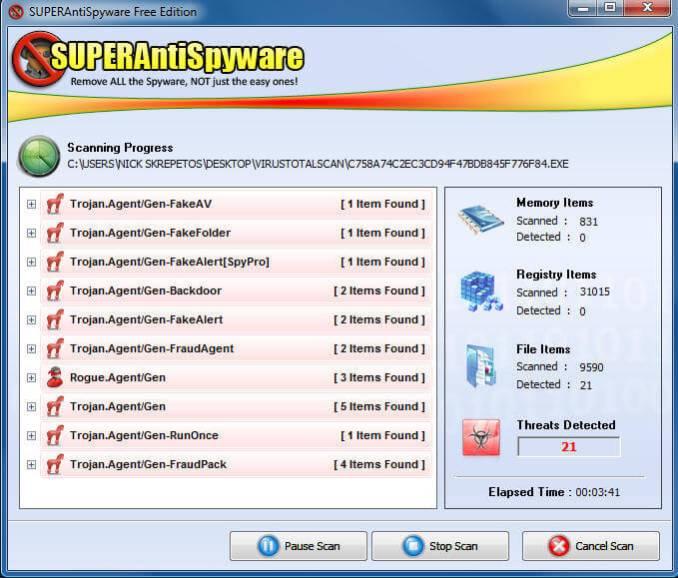 SuperAntiSpyware Scanning Progress