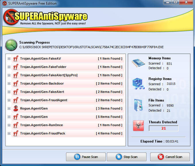 SuperAntiSpyware Scanning Progress