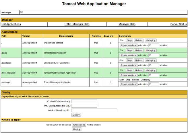 Apache Tomcat Web Application Manager