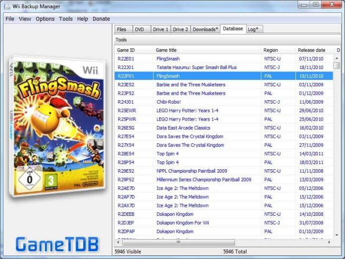 Database of Wii Backup Manager