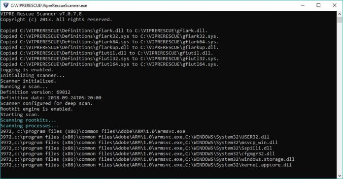 Vipre Rescue Scanner Command line