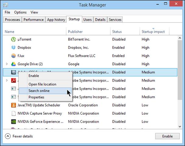 computer cleanup : startup menu