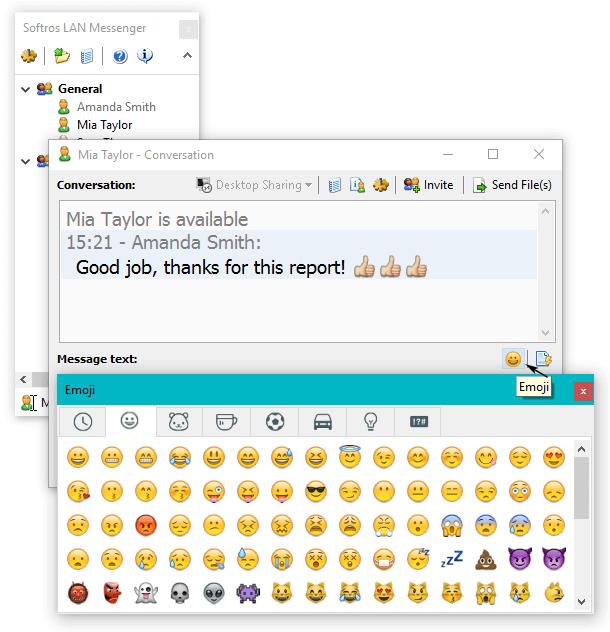 Send Emoji from Softros LAN Messenger