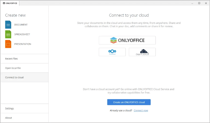 CONNECT YOUR CLOUD ACCOUNT WITH ONLYOFFICE Office Application