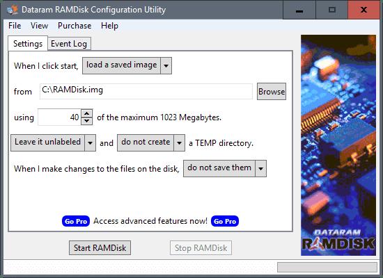 Datagram RAMDisk Settings