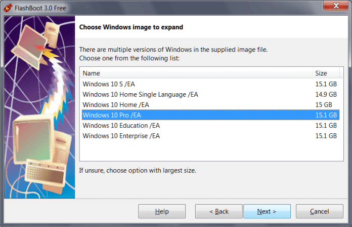 Choose Windows Image Files