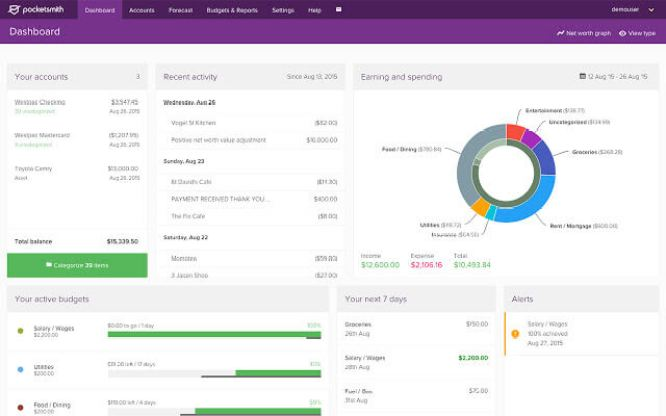 PocketSmith Account Dashboard of Personal Finance Software