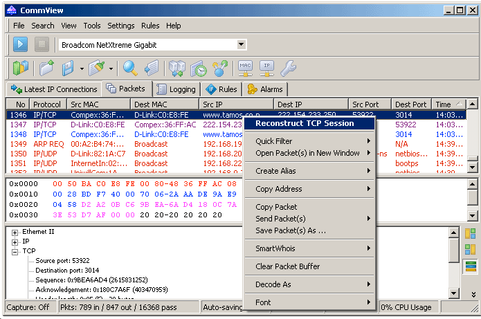 TCP Session of Network Analyzer For Windows