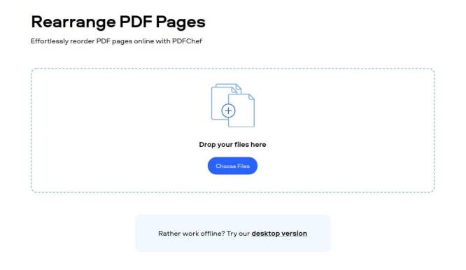 Drop your files to rearrange pdf pages