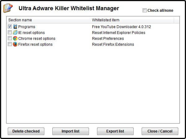 whitelist Manager - Malware removal Software For Windows 10